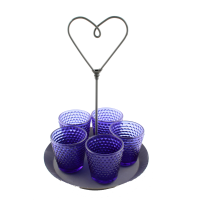 Heart Saucer Zinc with cobalt Votives