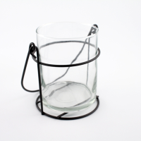 Small Glass Lantern With Wire Hanger
