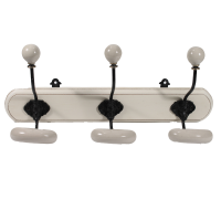 Double ceramic hooks on wooden plinth