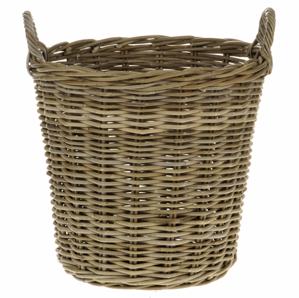 Grey Rattan Round Log Basket from TOBS
