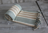 Blue and linen stripe cotton throw