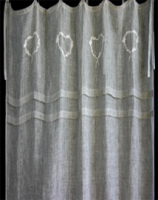 Linen flax coloured voile embroidered curtain with 2 tucks from Biggie Best